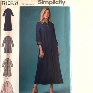 Simplicity Sewing Pattern R10251 Shirt Maxi Dress